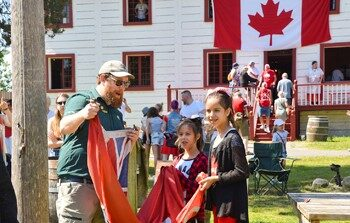Canada Day at the Fort !  The Line-up there.